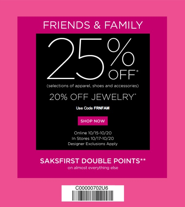 Saks Fifth Avenue has launched their 2013 Friends and Family Sale. The