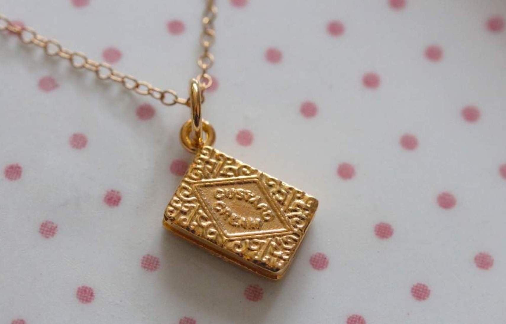 lily charmed custard cream biscuit necklace