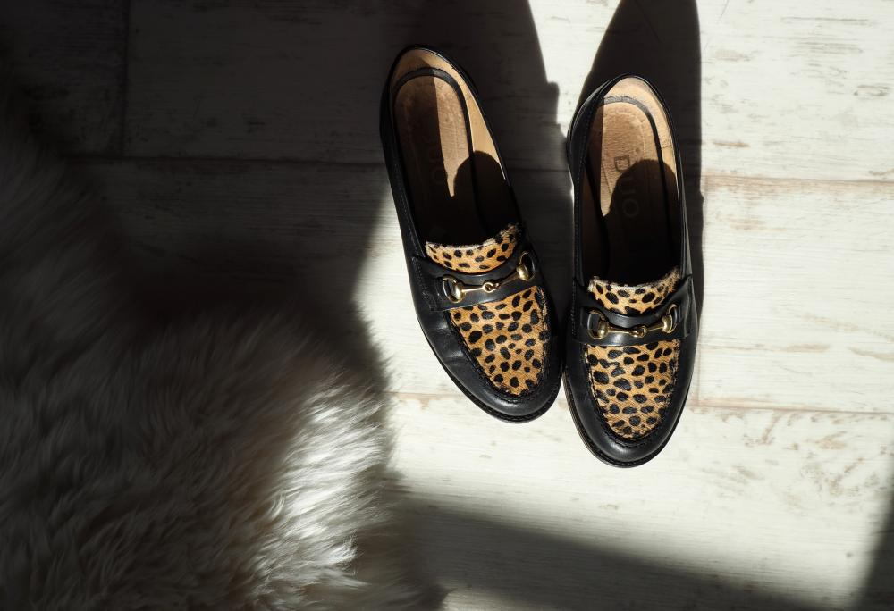 duo boots shoes loafers leopard print