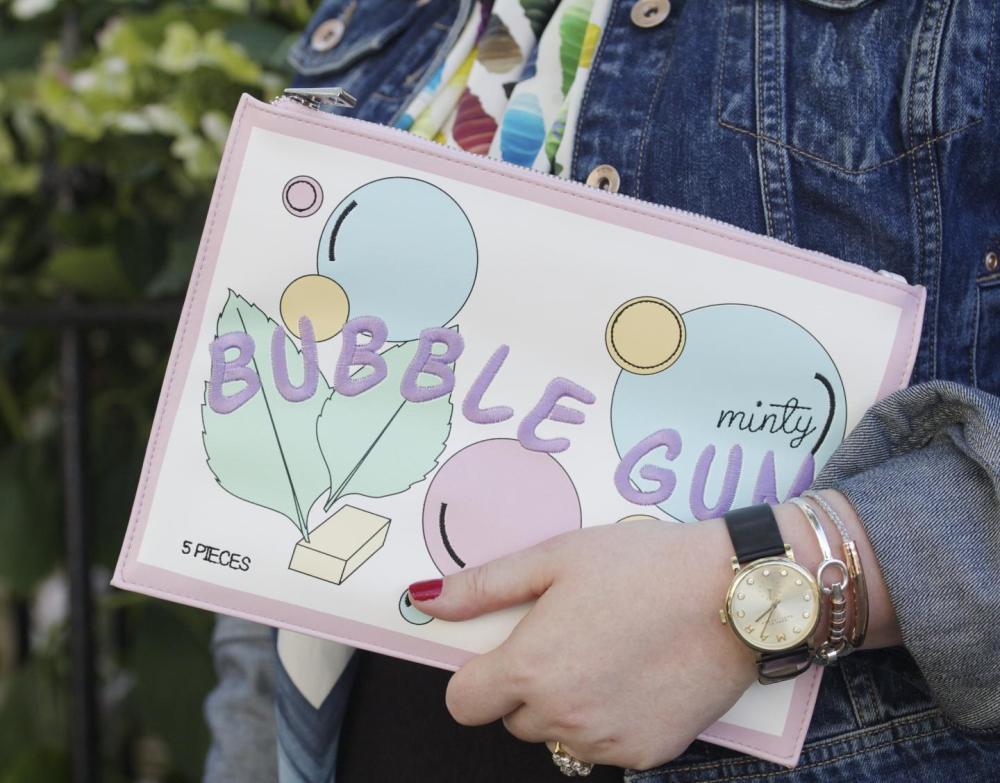 asos bubble dum minty clutch bag