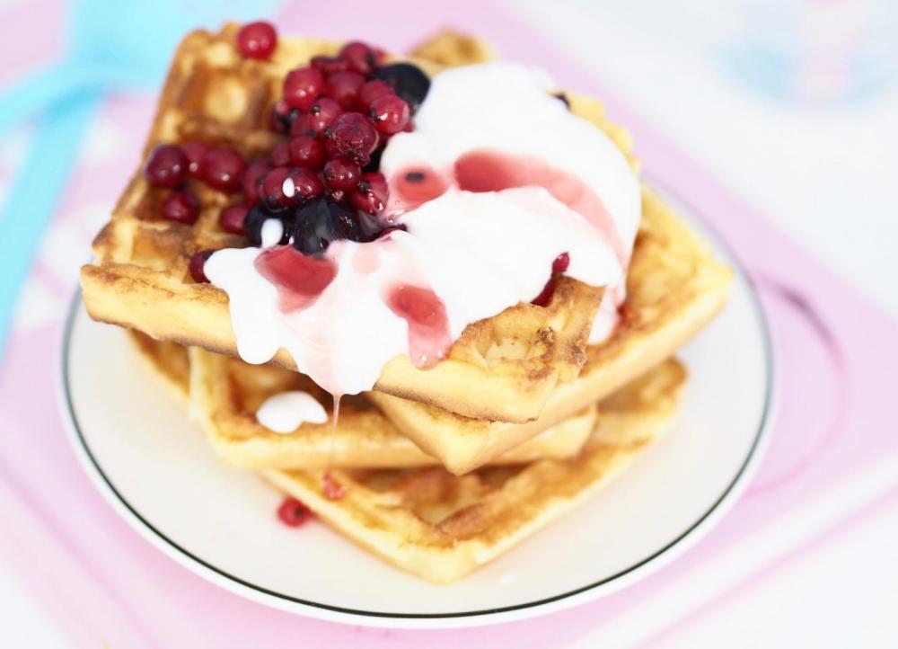 waffles and onken yogurt with sprinkles