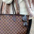 Louis Vuitton Neverfull tote bag & faux fur vest