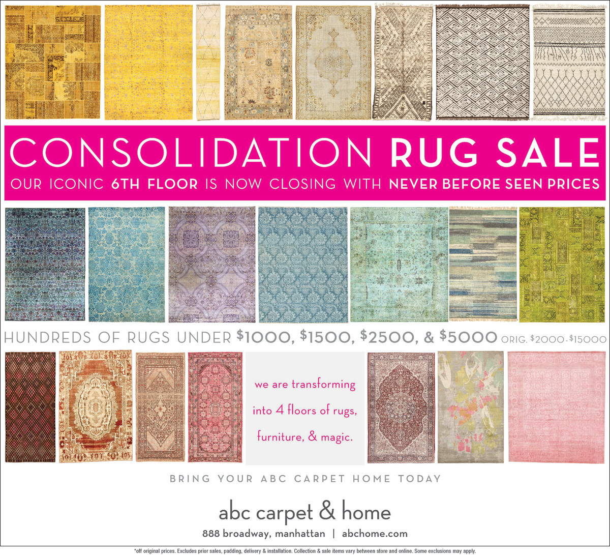 Rugs Online Sale Abc Carpet Consolidation Rug Sale 888 Broadway New York Ny