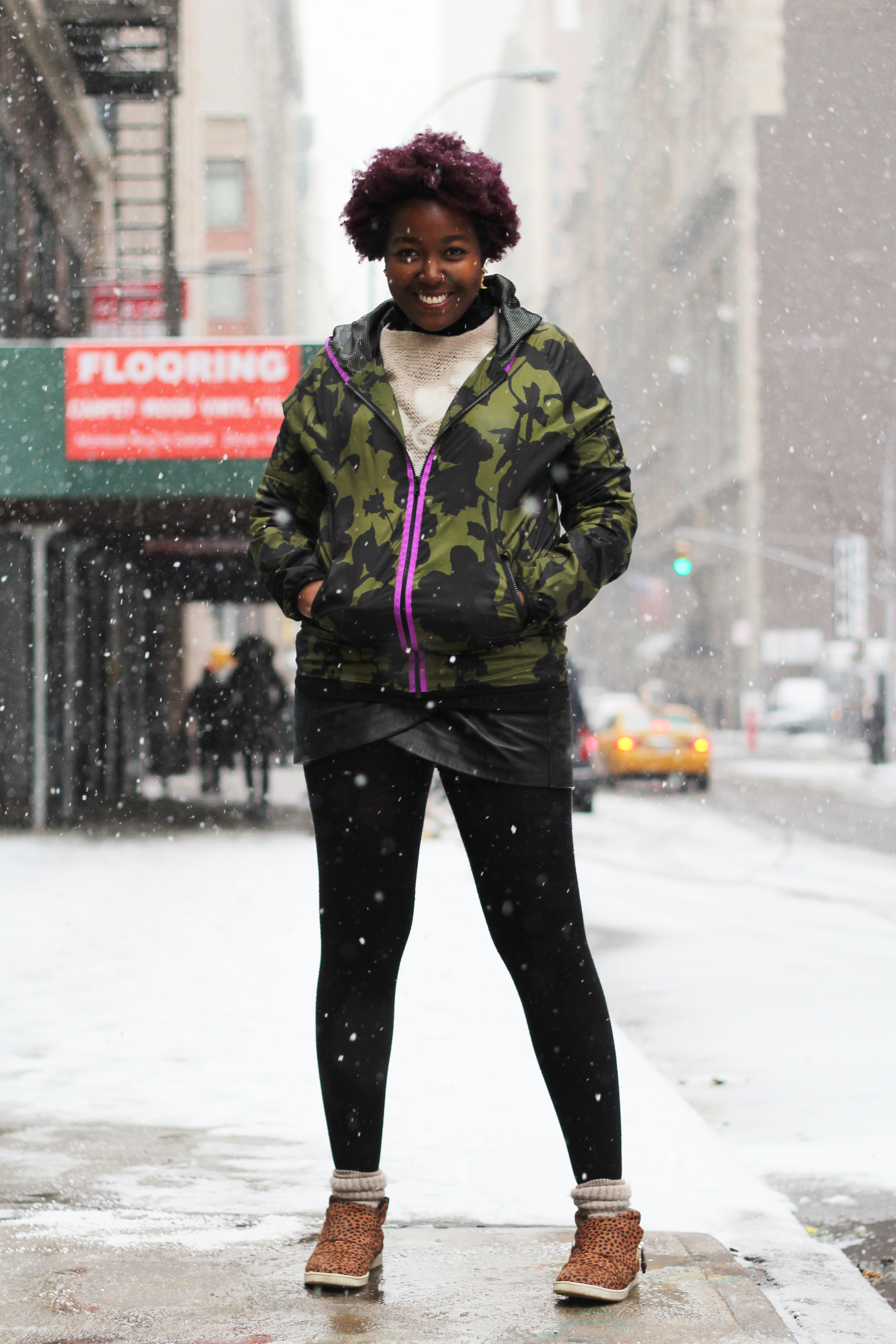 black woman in the snow