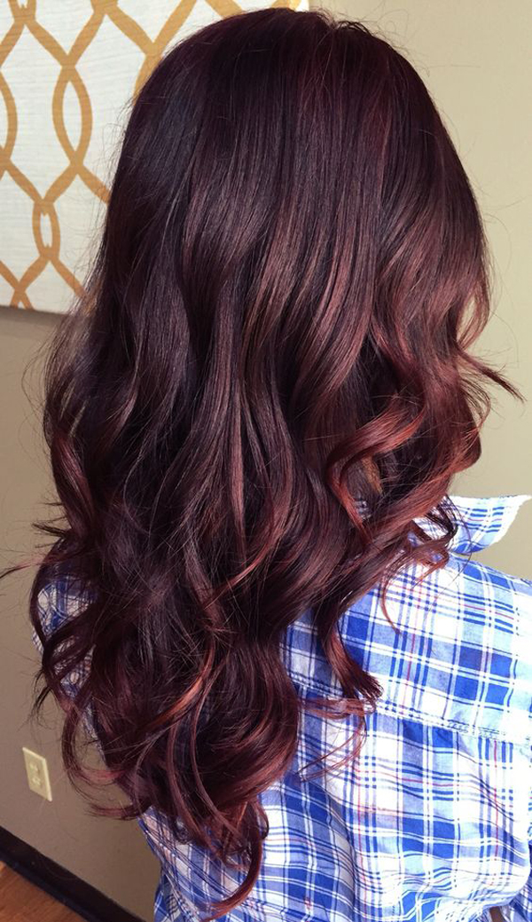 Casual red balayage hair colors