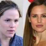 Jennifer Garner with make and without makeup