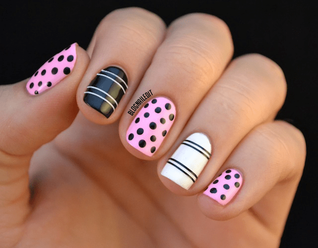 15 Super Cute Dots And Stripes Nail Designs Fashionsycom