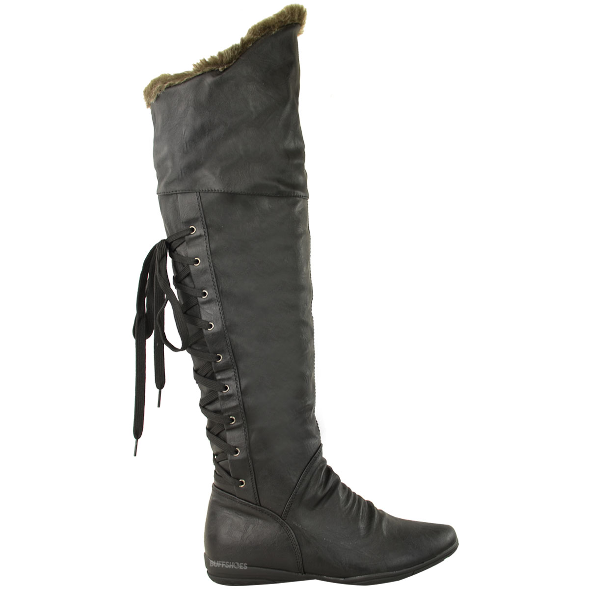 New Womens Ladies Flat Over The Knee Thigh Boots Lace Up