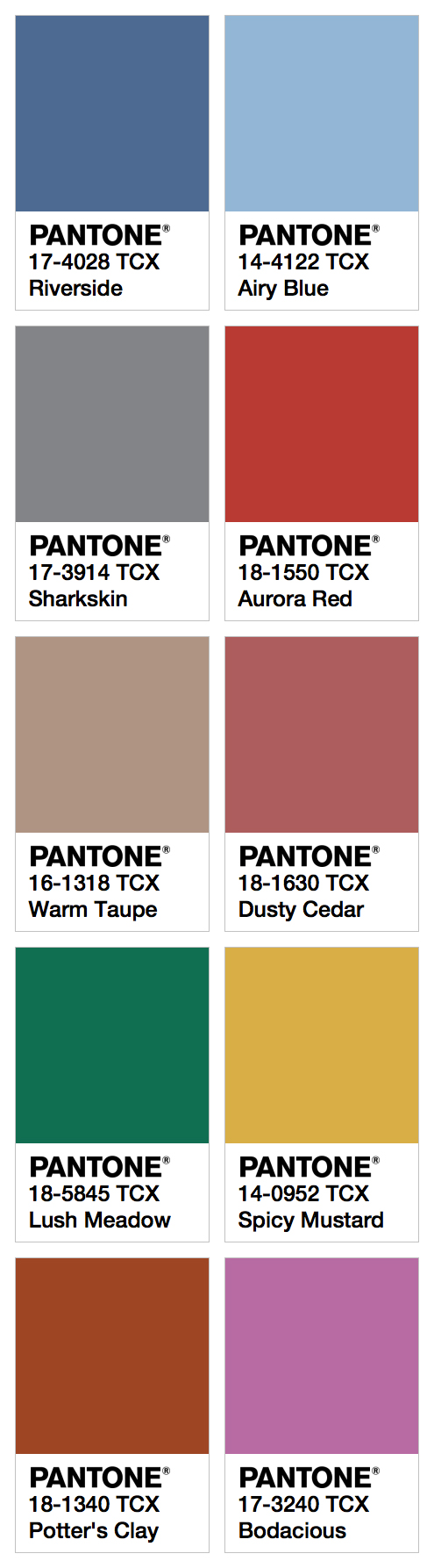 Pantone Color 2016 Pantone Fashion Color Report Fall 2016 Fashion Trendsetter