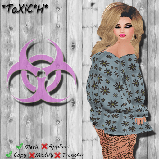 _ToXiC_H_ B Queen Dress Blue Flowers