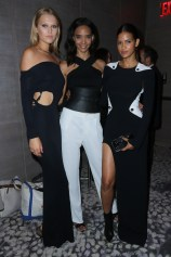 NEW YORK, NY - SEPTEMBER 10: (L-R) Models Toni Garrn, Cora Emmanuel, and Cris Urena attend The Daily Front Row's Third Annual Fashion Media Awards at the Park Hyatt New York on September 10, 2015 in New York City. (Photo by John Parra/Getty Images for The Daily Front Row)