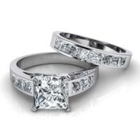 2018 Popular Princess Cut Diamond Wedding Rings Sets