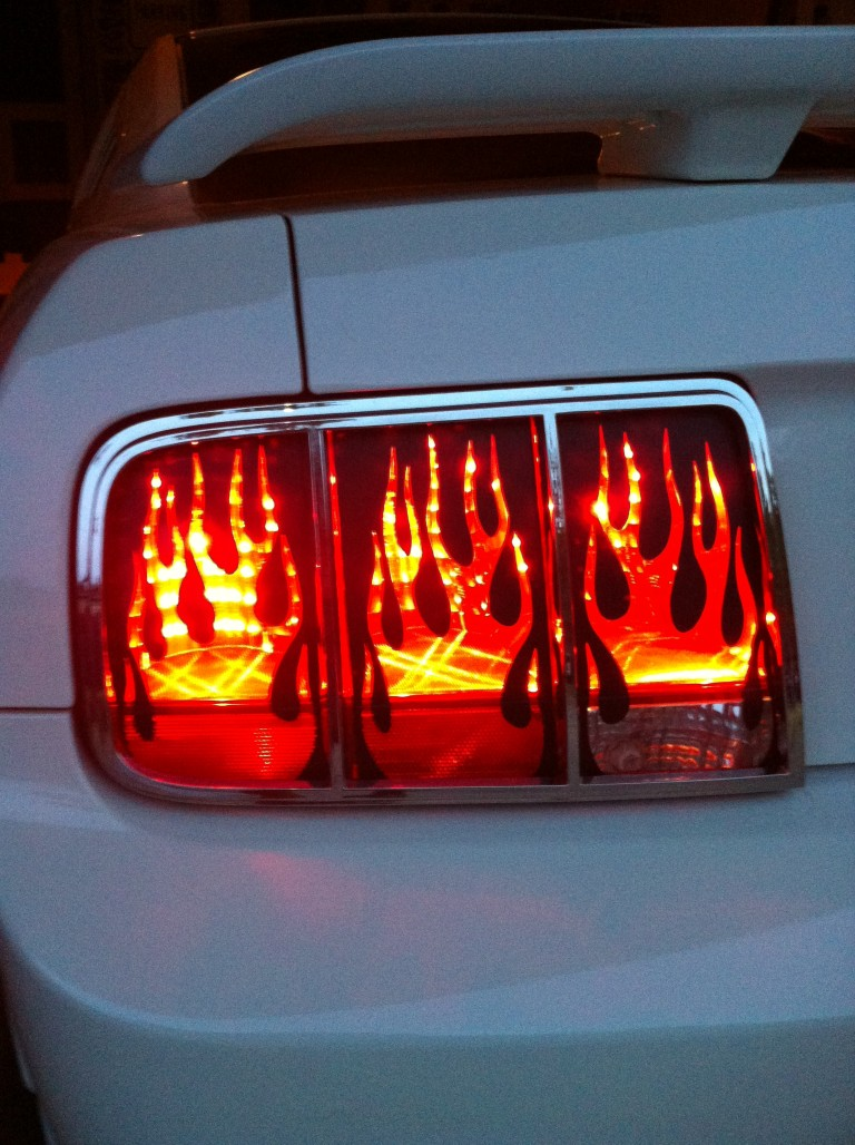 50 Euro Mustang Flaming Tail Light Covers 05-09