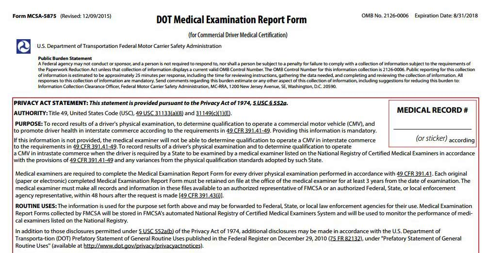 CDL Drivers DOT Physical Exam Form 5875 PDF Medical Card - physical exam form