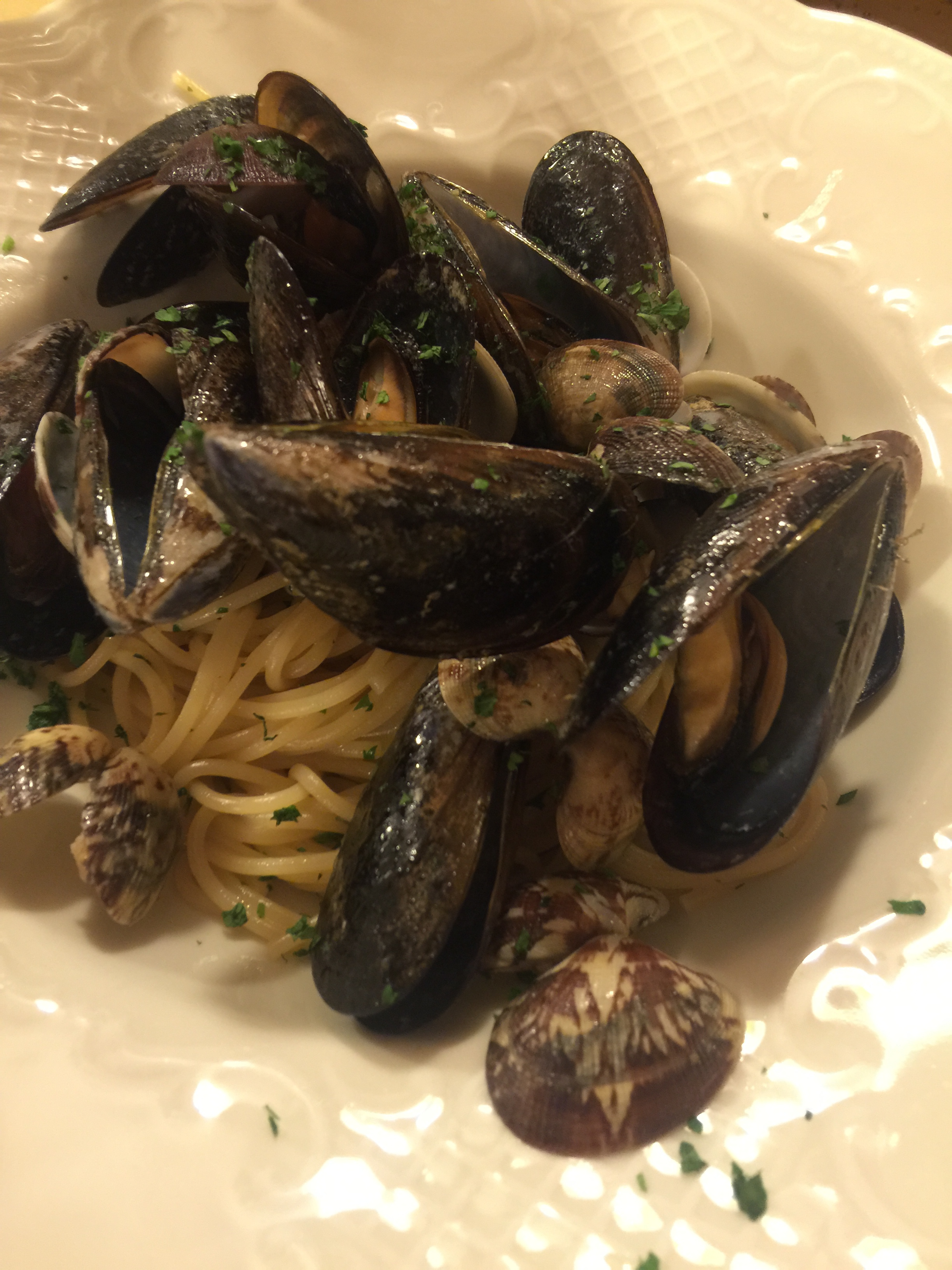 Linguini with fresh mussels and clams