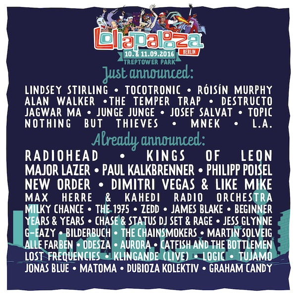 Lollapalooza 2016 Line Up new