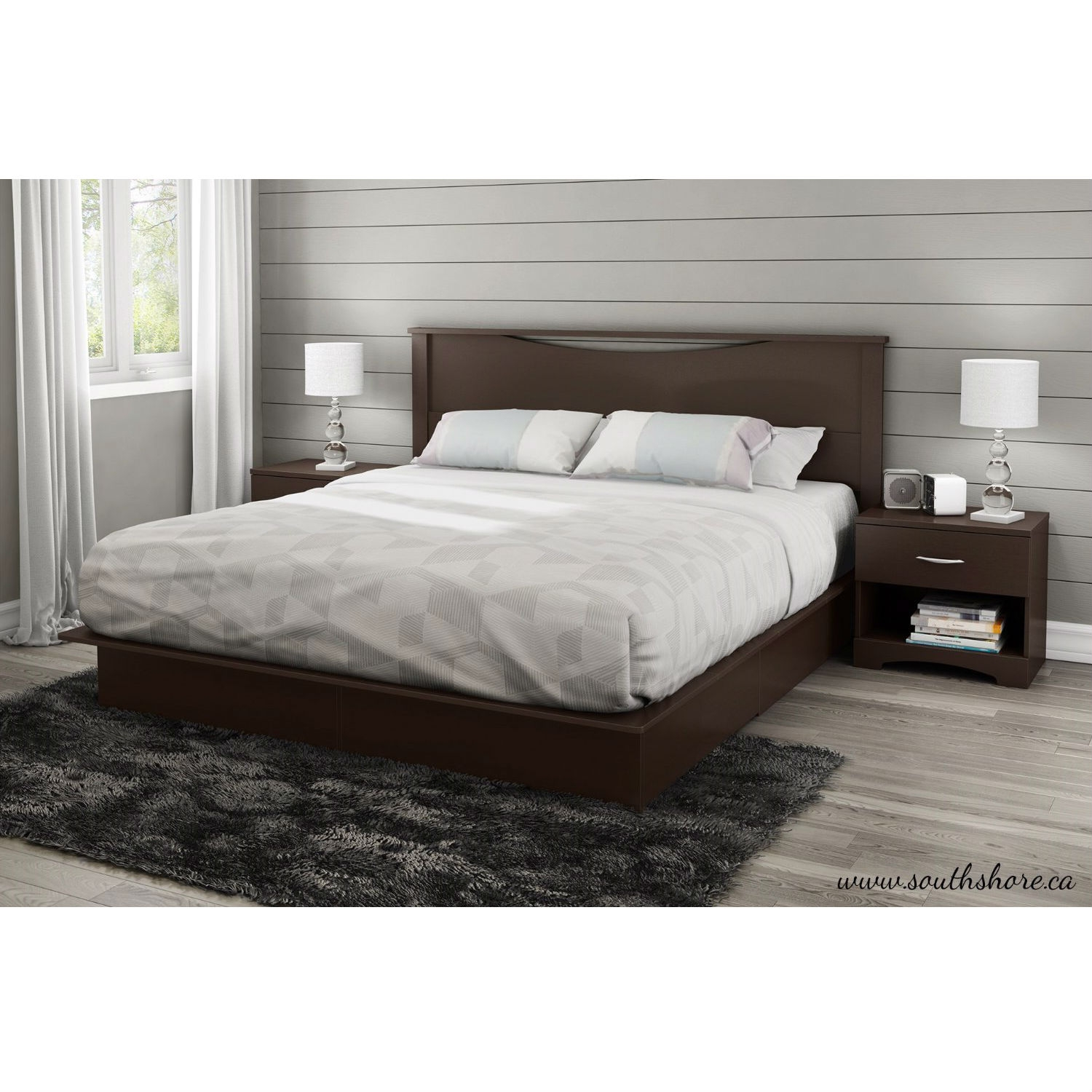 King Size Platform Bed With Storage King Size Modern Platform Bed With 2 Storage Drawers In