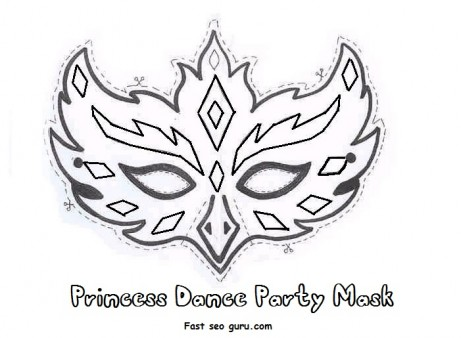 Printable princess dance party mask cutouts coloring in mask