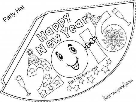 Printable happy new year party hats coloring for kids - Printable