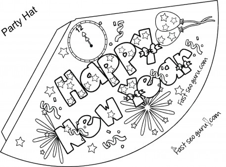 Print out happy new year party hat coloring for kids - Printable