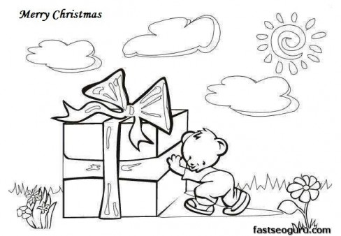Merry Christmas Coloring Pages Big Gift Greeting Card Printable