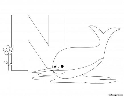 Printable Animal Alphabet worksheets Letter N is for Nurse Shark