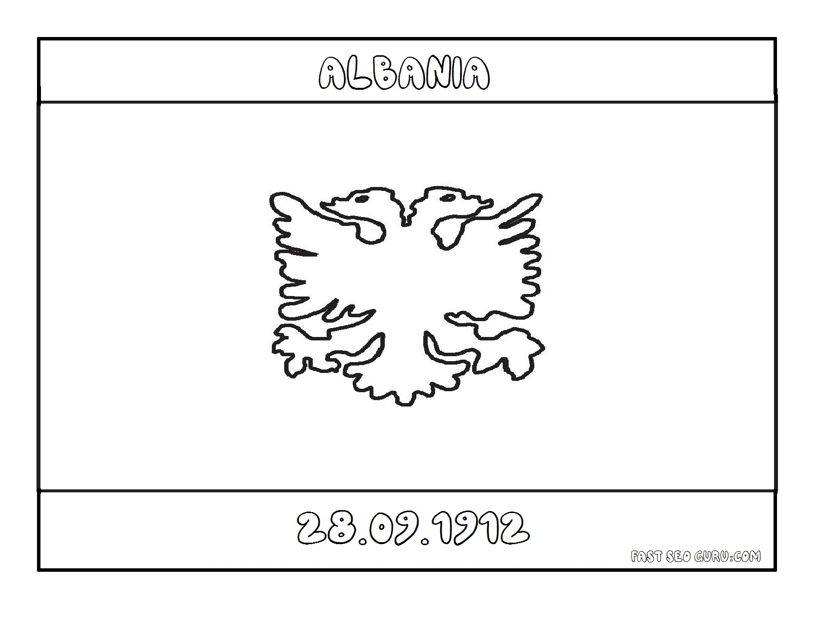 Albanian Flag Coloring Page - Costumepartyrun