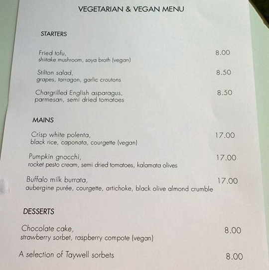 OXO vegan menu