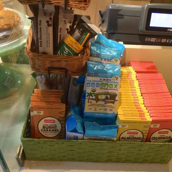 vegan and non vegan snacks at real food daily LAX