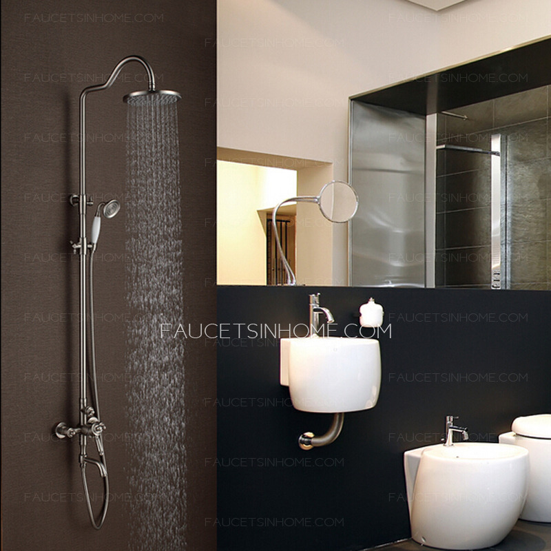 Kitchen Shelves With Hooks Vintage Brushed Nickel Copper Shower Faucet With Hand Shower