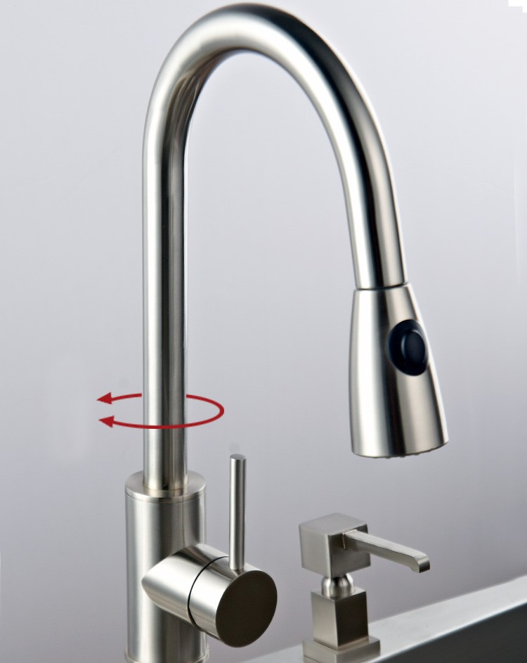 solid brass pull kitchen faucet nickel brushed finish chrome contemporary solid brass kitchen faucet chrome finish faucetsmall
