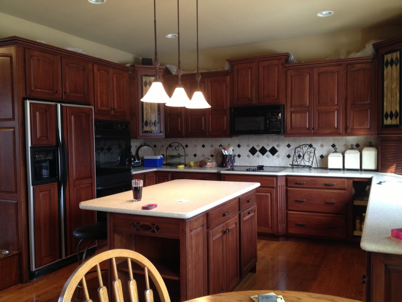 Staining Unfinished Kitchen Cabinets Staining Oak Cabinets Image Of Refinishing Oak Kitchen