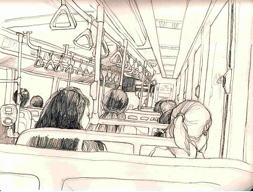 Cute Anime Couple Wallpaper For Iphone Bus Drawing Illustration People Train Image 8884 On