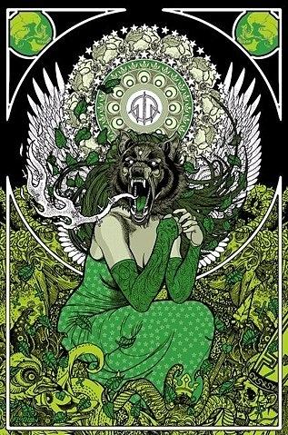 Cute Alien Iphone Wallpaper Art Nouveau Green Mucha Nouveau Poster Werewolf