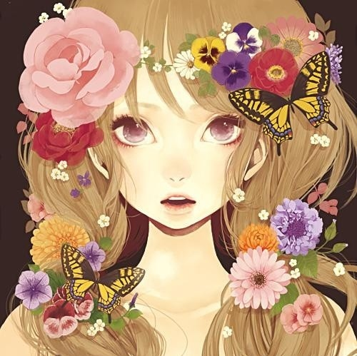 Beautiful Butterfly Girl Wallpaper Anime Art Butterfly Colorful Flowers Girl Image