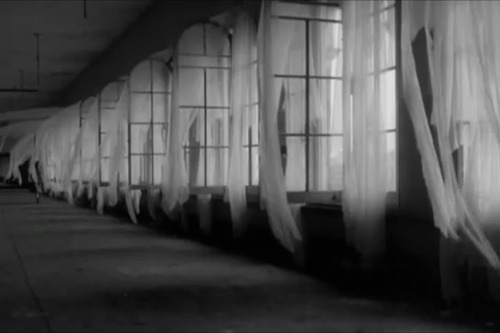 Beautiful Girl And Boy Wallpaper Black And White Creepy Curtains Hall Wind Image