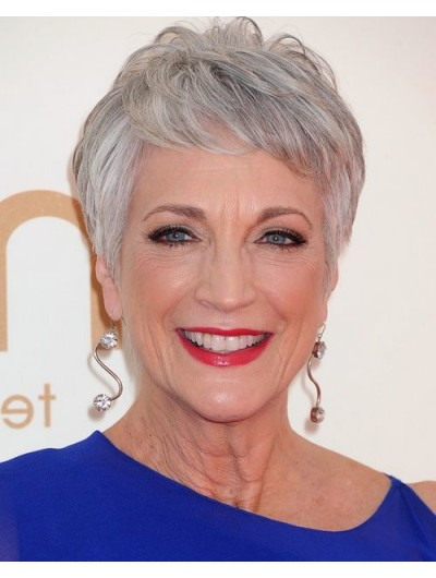 Straight Hairstyle Price Synthetic Hair With Bangs Grey Wig For Older Women Cheap