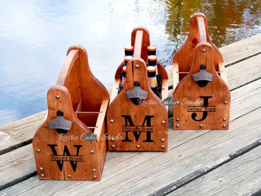 Rustic Personalized Beer Carrier