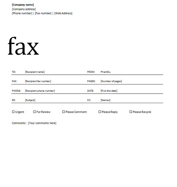 Sample Fax Cover Sheet Free Fax Cover Sheet Template Download