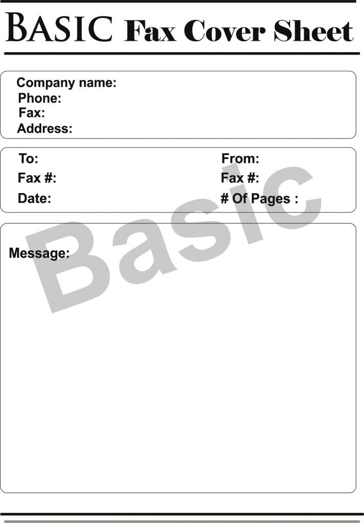 Basic Fax Cover Sheet - Fax Cover Sheet Template