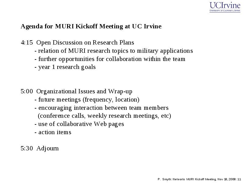 Goals for Today\u0027s Meeting Review overall goals and research of muri - collaboration meeting agenda