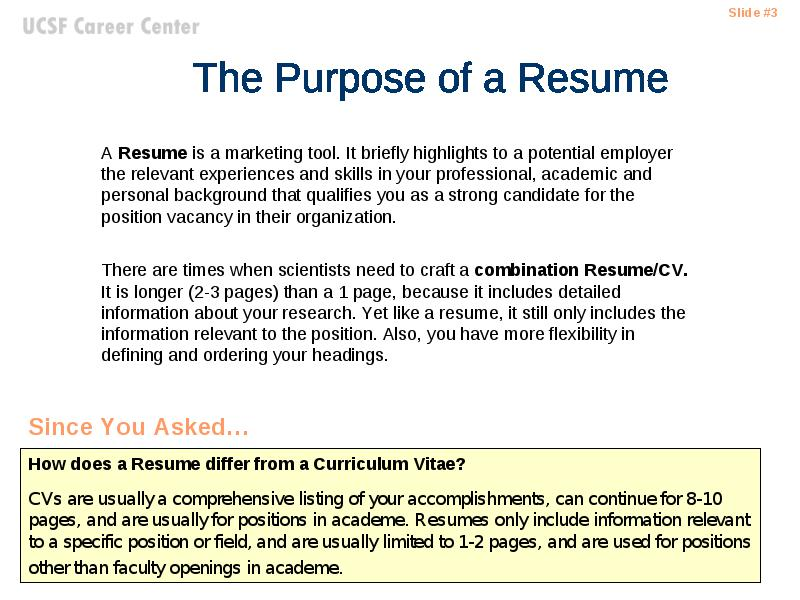 Writing the Successful Science Resume - what is the purpose of a resume