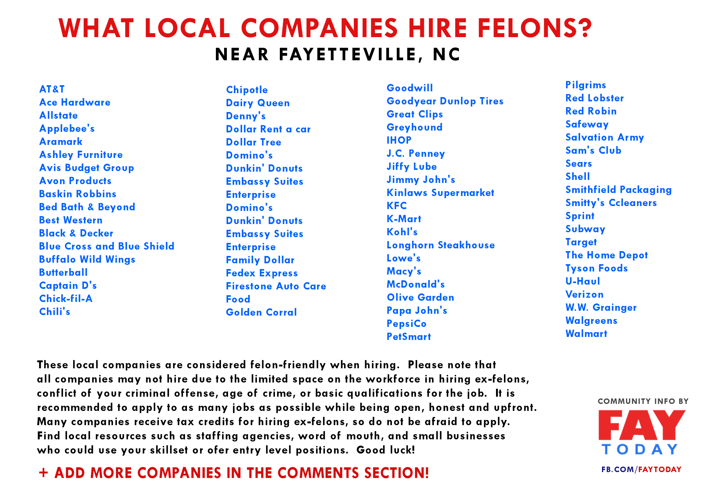 Jobs That Hire Felons In Fayetteville Nc