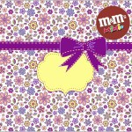 Mini M&M Molde Template Floral Lilás e Amarelo