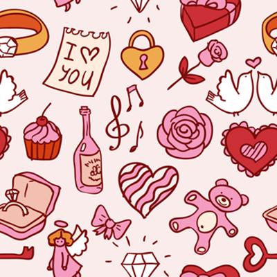 doodle valentines pattern
