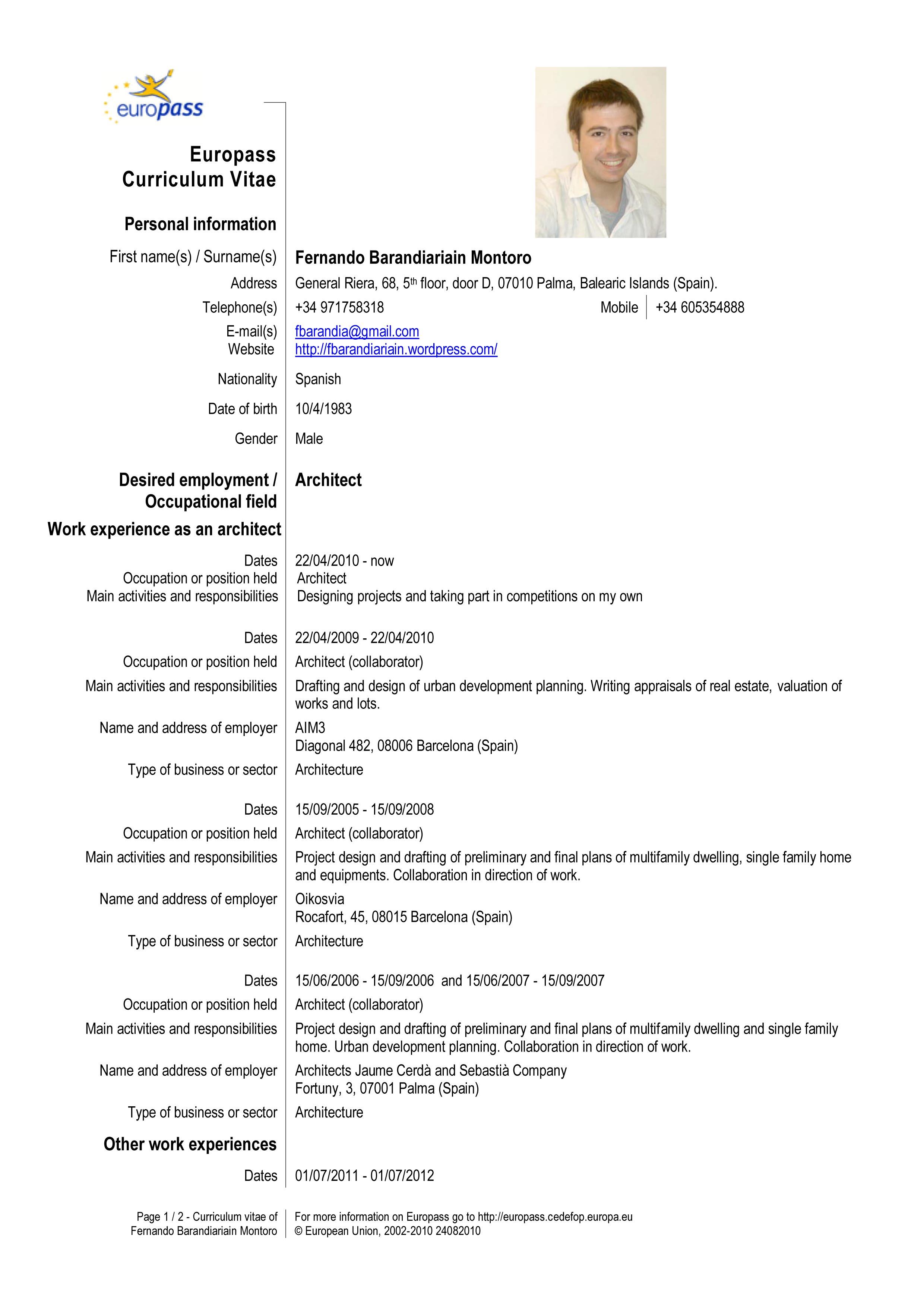 europass cv english online editor