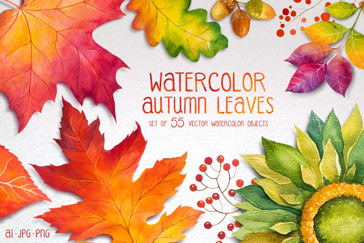 Fall Sunflower Wallpaper Autumn Leaves Watercolor Set By Alexg Design Bundles