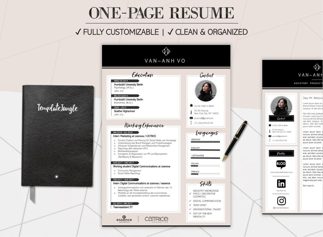 Modern Resume Template Pack - CLASSY - Professional CV  Cover