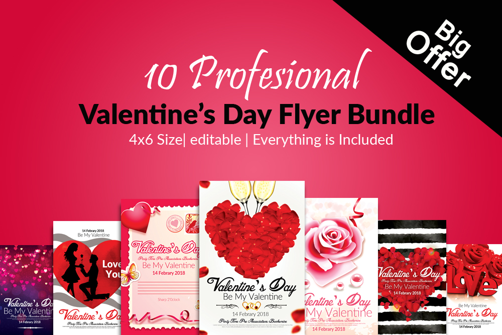 10 Valentines Day Flyer Template Bundle Design Bundles