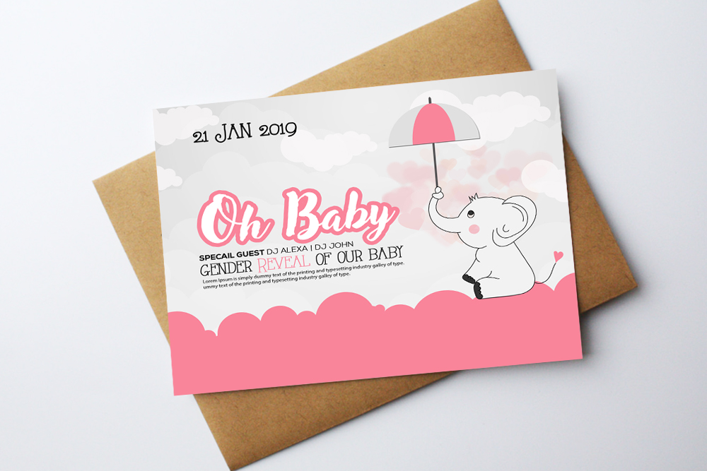 Oh Baby Shower Card Template